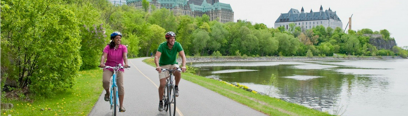 Biking on the Rideau Canal in Ottawa