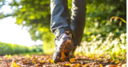 Feet walking on fall road