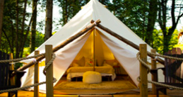Outdoor tent with a bed in it