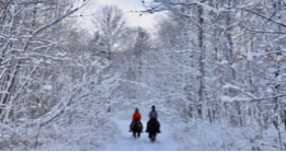 Two people horseback riding in the snow