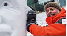Man making an ice sculpture