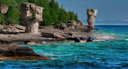 Rocks and clear blue water