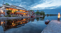 Restaurant and dock at sunset