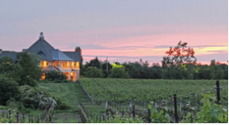 Winery and green field of grass at sunset