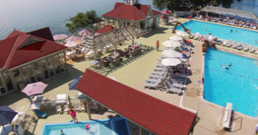 birds eye photo of a resort with pools