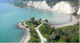 Ariel view of white cliffs and blue water