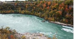 Rapids along a fall forest
