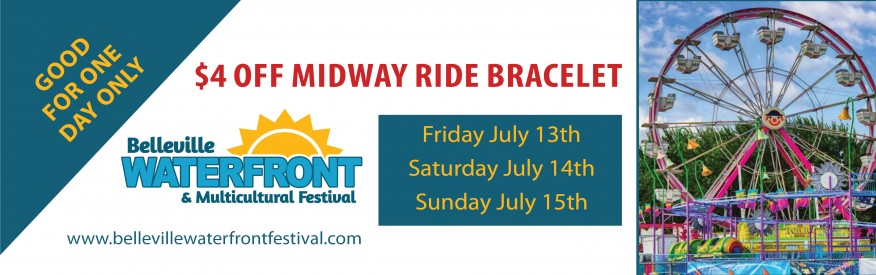 Belleville Waterfront & Multicultural Festival Coupon - $4 off midway ride bracelet