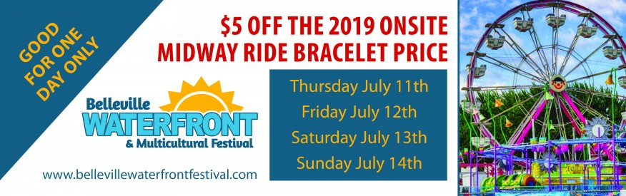 Belleville Waterfront & Multicultural Festival Coupon - $5 off midway ride bracelet