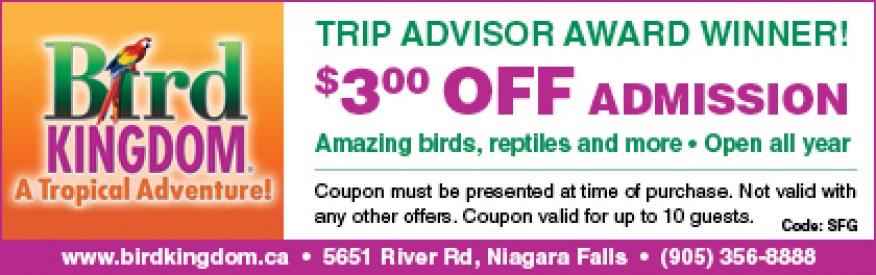 Bird Kingdom coupon - $3 off admission