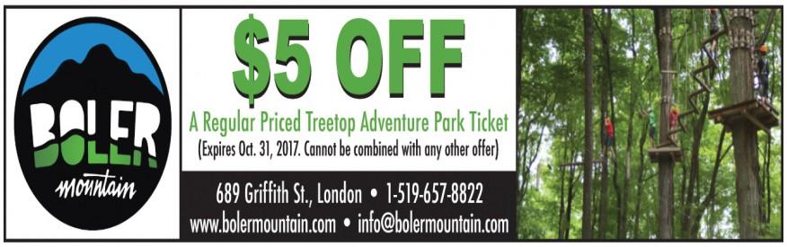 Boler Mountain coupon - $5.00 OFF