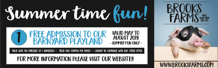 Brooks Farms Coupon - One Free Admission to Barnyard Playland