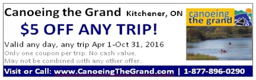 Canoeing the Grand coupon - $5 off