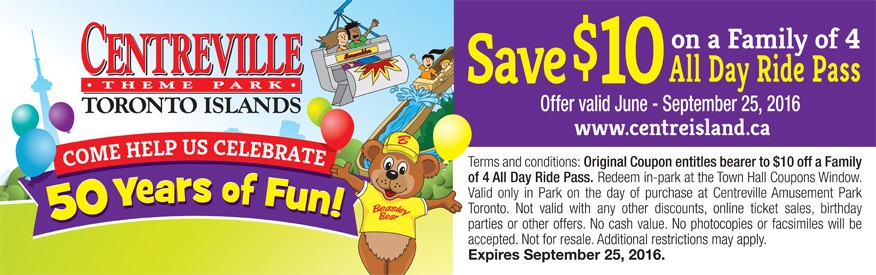 Centreville Coupon - Save $10 for family of 4 all day ride pass