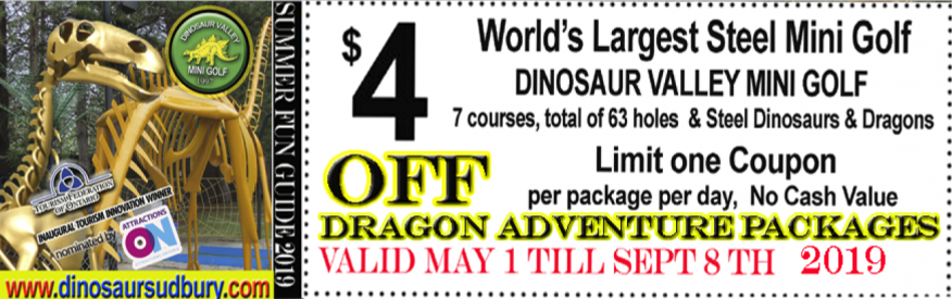 Dinosaur Valley Mini Golf Coupon - $4 off dragon adventure pkg
