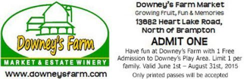 Downeys Farm, Market & Estate Winery Coupon - admit one