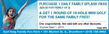 Earl Haig Coupon-Buy a Daily Family Splash Pass & get a Mini-Golf round FREE
