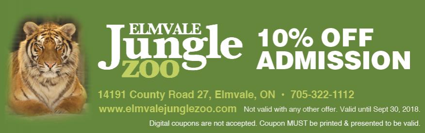 Elmvale Jungle Zoo 10% off Admission Coupon