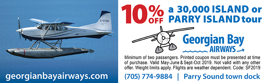 Georgian Bay Airways Coupon - 10% off 30,000 Island or Parry Island tour