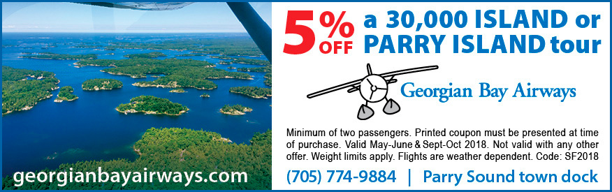 Georgian Bay Airways Coupon - 5% off 30,000 Island or Parry Island tour
