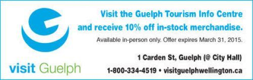 Guelph tourism Coupon - 10% off merchandise
