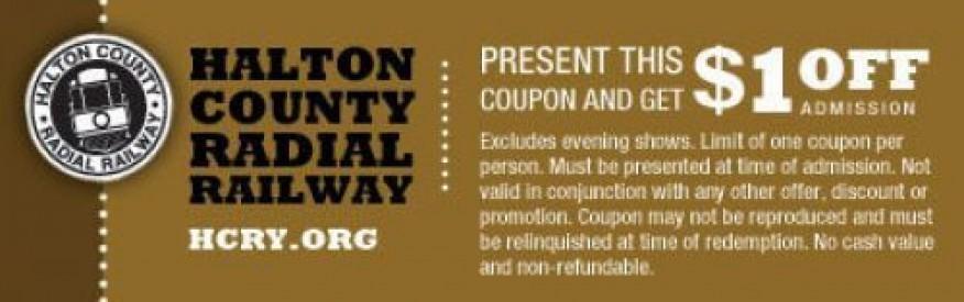Halton Railway Coupon - $1 off admission