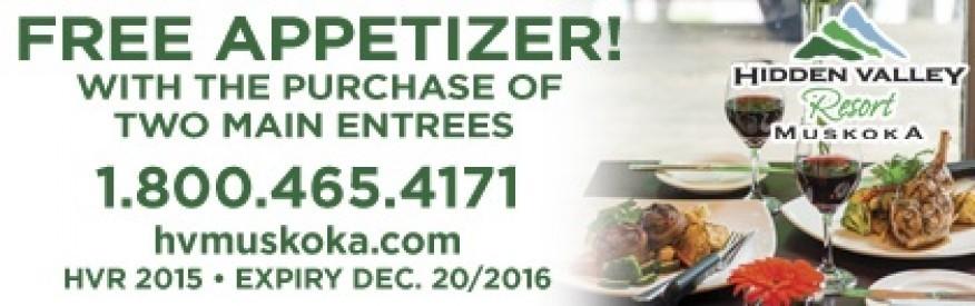 Hidden Valley Resort coupon - Free Appetizer
