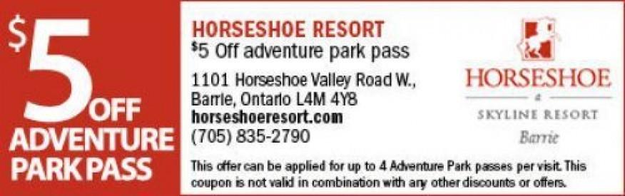 Horseshoe Adventure Park Coupon - $5 OFF