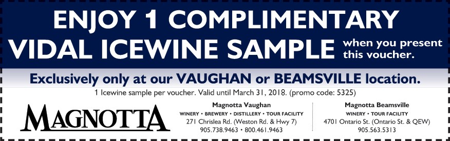 Magnotta Winery Coupon - Free Vidal Ice Wine Sample