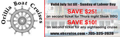 Orillia Boat Cruises Coupon - buy one ticket, get  $10+ off 2nd