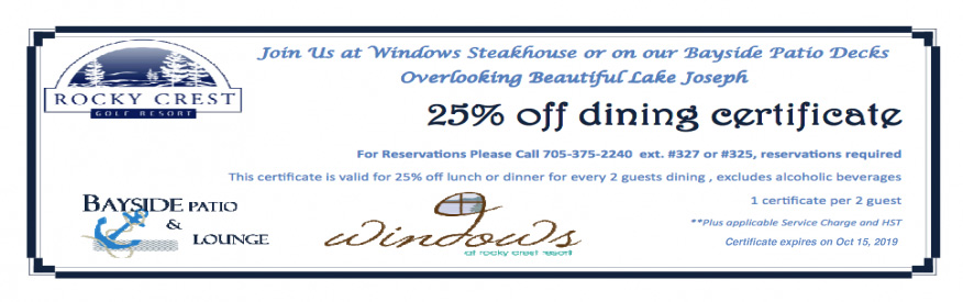 Rocky Crest - 25% off dining