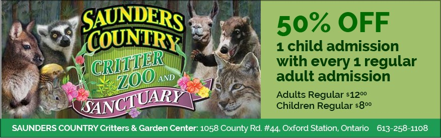 Saunders Country - 50% off 1 child admission with every 1 regular adult admission