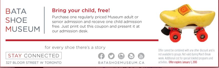 Bata Shoe Museum Coupon - buy 1 adult, get 1 child free