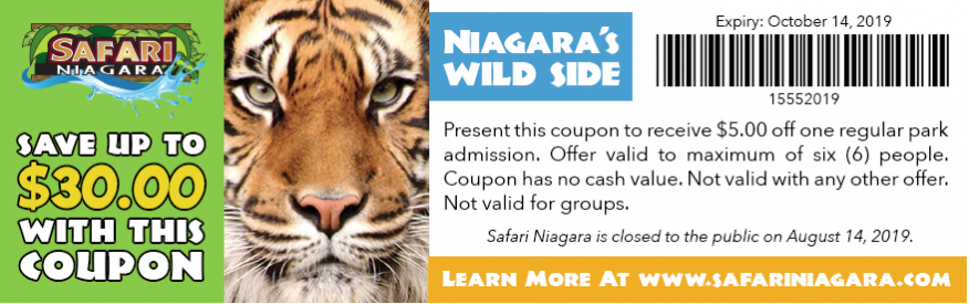 Safari Niagara Coupon - SFG - save up to $30