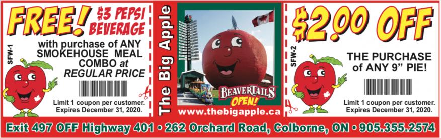 Big Apple Coupon - $2 OFF a pie