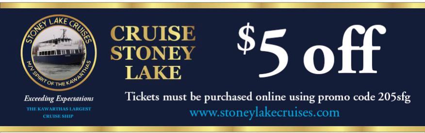 Stony Lake Cruises -$5.00 Off