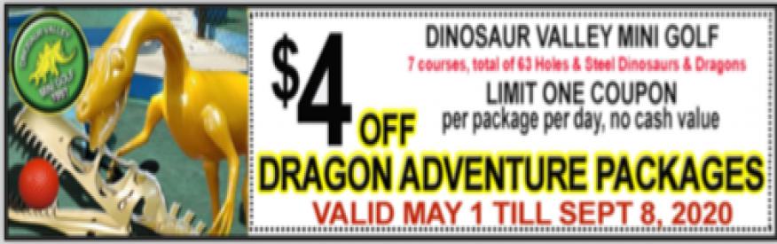 Dinosaur Valley Mini Golf Coupon - $4 off dragon adventure pkg