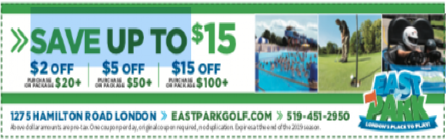 East Park Coupon - Choose one of these great offers!