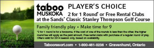 Taboo Resort coupon - 2 for 1 round of golf