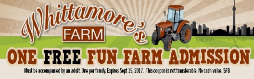 Whittamore's Farm Coupon - 1 free farm admission