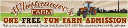 Whittamore's Farm, Market & Pick-Your-Own Coupon - 1 free farm admission