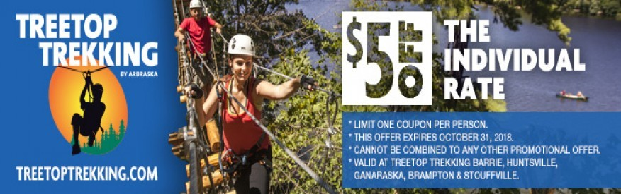Treetop Trekking coupon - $5 off
