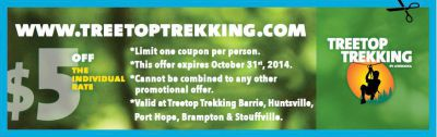 Treetop Trekking coupon - $5 off